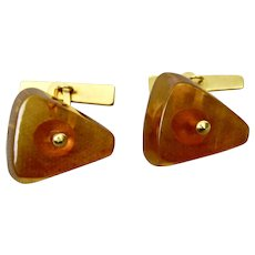 Baltic Amber Cuff Links Gold Filled Settings Pair