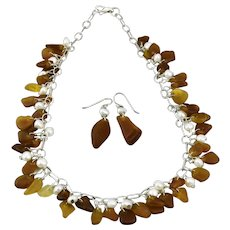 Beach Glass And Cultured Pearls Sterling Silver Necklace And Earrings Set 18 Inches Length