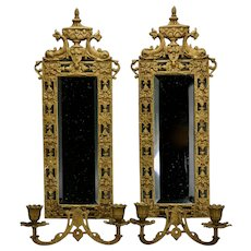 Bronze Wall Sconces Beveled Mirrored Back Dolphin Eastlake Style Two Candle c.1890 Pair