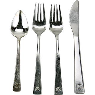 Eastern Airlines Stainless Flatware Four Piece Place Setting Modern Style c.1960