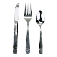 Air Canada Airlines Stainless Flatware 3 Piece Setting Maple Leaf Logo c.1960