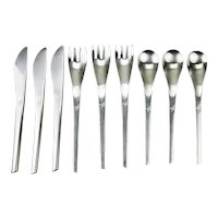 Eastern Airlines Stainless Flatware Three 3 Piece Place Settings Modern Style c.1960