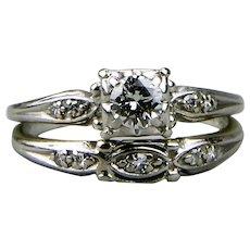 Diamond Wedding Set 18K White Gold Round Brilliant Cut .50 Center Stone Signed Jabel