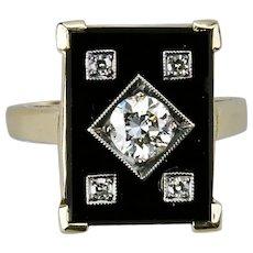 Art Deco Style Black Onyx Diamond Ring 14K Yellow Gold Brilliant Cut .52 Carat