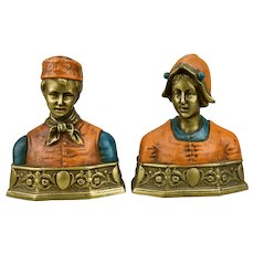Bronze Bookends Busts Of Dutch Boy And Girl Couple Pompeian Bronze Company c.1920's