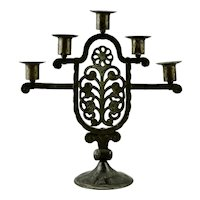 Hugo Berger Goberg Hand Wrought Iron Five Light Candelabra Floral Motif Secessionist Movement Austria