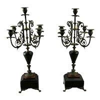 Pair Victorian Five Light Candelabras Flat Back Eastlake Style Marble Details