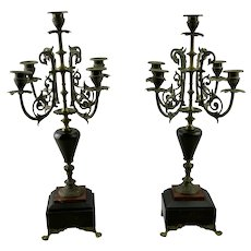 Pair Victorian Five Light Candelabras Flat Back Eastlake Style Marble Details