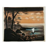 Japanese Seascape Painting On Silk c.1950's