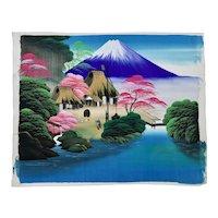 Japanese Mount Fuji Landscape Painting On Silk c.1950's