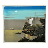 Japanese Seascape Landscape In Moonlight Painting On Silk c.1950's