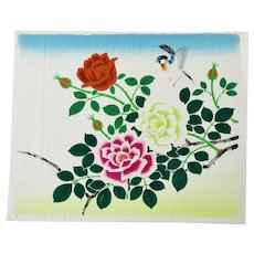 Japanese Floral Painting Of Roses And A Bird On Silk c.1950's