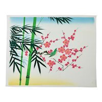 Japanese Floral Painting Of Bamboo Apple Blossoms And Bird On Silk c.1950's
