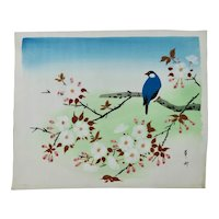 Japanese Floral Painting Of Apple Blossoms And Bluebird On Silk c.1950's Signed