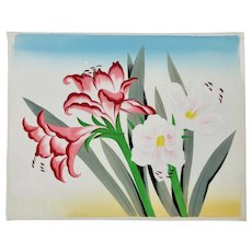 Japanese Floral Painting Of Amaryllis Blossoms On Silk c.1950's