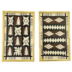 Aboriginal Bark Art Prints Pair Geometric Patterns Australia c.1960's