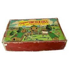 Original Lincoln Logs The All American Toy 324 Pieces With Wagon Wheels Original Box c.1923
