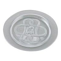 Lalique Crystal France Small Plate Dish Intaglio Cherub Garland Olympe Pattern Art Deco Style