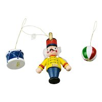 Three Piece Christmas Ornaments Set Soldier Ball And Drum