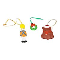 Three Piece Hand Painted Ceramic Christmas Ornaments Set Soldier Wreath Bear