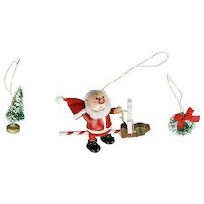 Three Piece Christmas Ornaments Set Santa Flocked Tree And Wreath