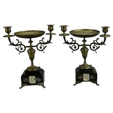 Pair Victorian Double Light Candelabras With Central Tazza Compote Plateau Flat Back Style Marble And Bronze Details