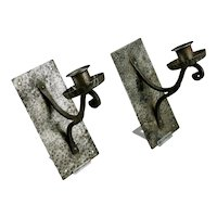 Hand Wrought Iron Pair Single Candle Cup Wall Sconces German Arts & Crafts Style