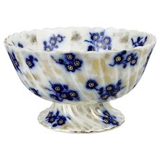 Large Flow Blue Footed Bowl Blossoms Pattern Gilding Motif Scalloped Ribbed Form Sampson Hancock Potteries Stoke On Trent England