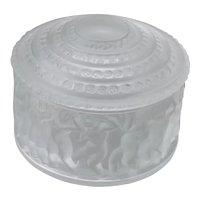 Lalique Crystal Enfants Pattern Covered Box Dresser Jar France