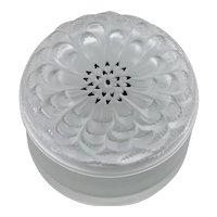 Lalique Crystal Dahlia Pattern Covered Box Dresser Jar With Enamel Details France