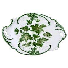 Porcelain Dresser Tray Hand Painted Green Leaf Motif With Gilt Details