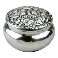 Sterling Silver Repousse Dresser Jar Howard & Co. New York