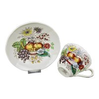 Spode Reynolds Flat Cup And Saucer Vibrant Fruits Floral Motif England