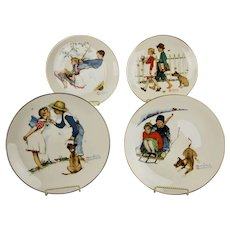 Norman Rockwell Decorative Plates Four Seasons Series 1949 A Boy & Girl With Dog Issued 1972 Gorham