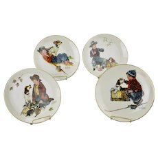 Norman Rockwell Decorative Plates Four Seasons Series 1958 A Boy And His Dog Issued 1971 Gorham