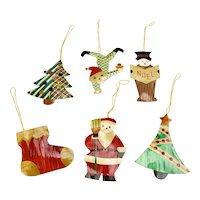 Bamboo Christmas Ornaments Set Of Six Colorful Santa Noel Trees Stocking Elf
