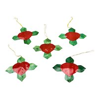 Bamboo Christmas Ornaments Set Of Five Colorful Red Heart With Green Leaves Flower Form