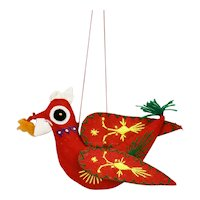 Hand Quilted And Embroidered Christmas Ornament Bird Motif China c.1980