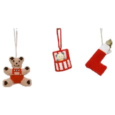 Three Piece Christmas Ornaments Set Bear Figure Stocking With Bear And Pouch with Bear Hand Crafted
