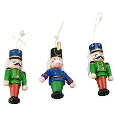 Three Piece Nut Cracker Painted Wood Christmas Ornaments Set