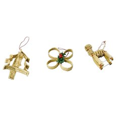 Straw Christmas Ornaments Hand Woven Golden Straw Christmas Tree Clover And Goat Motifs Set Of 3