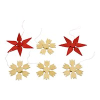 Wood Stars Snowflakes Christmas Ornaments Set Of Six Vibrant And Colorful Sweden