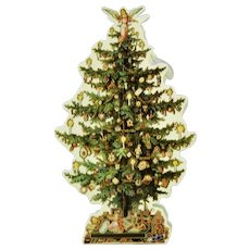 Victorian Style Christmas Tree Shaped Container Hanging Box With Decorations c.1983