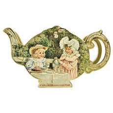 Miniature Gilded Tea Set In Victorian Style Tea Pot Shaped Party Box B. Shackman & Co. c.1983