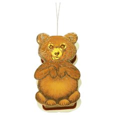 Baby Bear Fully Jointed Furry Flocked In Victorian Style Bear Shaped Hanging Box B. Shackman & Co. c.1983