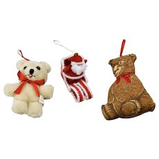 Three Piece Christmas Ornaments Set Bear With Wings Santa On Sled And Quilted Bear