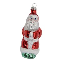 Christmas Ornament Leaning Santa Hand Colored Details
