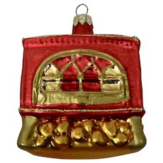 Christmas Ornament Wood Burning Stove Hand Colored Details
