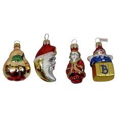 Christmas Ornaments Miniature Pear Santa Moon Clown Set of 4