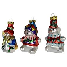 Christmas Ornaments Snowman Set of 3 Hand Colored Details